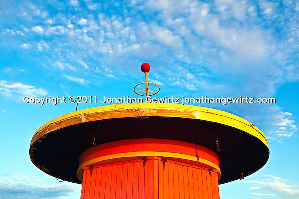 A lifeguard hut on South Miami Beach just before sunrise. (Copyright 2011 Jonathan Gewirtz jonathan@gewirtz.net)