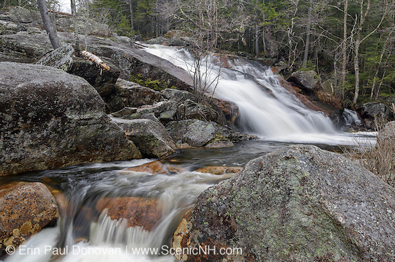 Small waterfall along Harvard Brook, above Upper Georgiana Falls, in Lincoln, New Hampshire during the spring months.