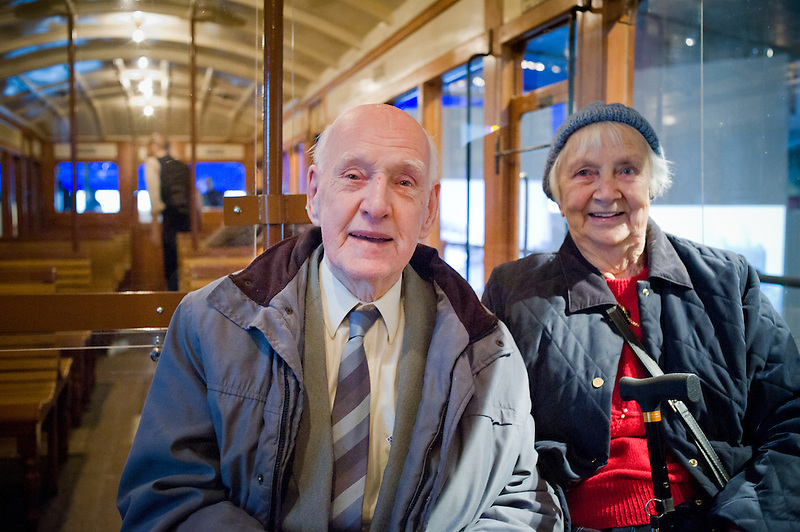 Married for 58 years Peter and Doris Owen used to ride on the Overhead Railway in Liverpool. They had fond memories of it and enjoyed being on the carriage at the Musem of Liverpool. Doris used to take the tram to work which ran under the overhead railway. Peter used to ride the overhead to work and loved the beautiful sweep of the railway as it went round the Albert Dock.