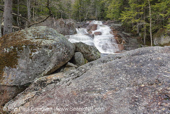 Lower Georgiana Falls in Lincoln, New Hampshire. These falls are located along Harvard Brook.