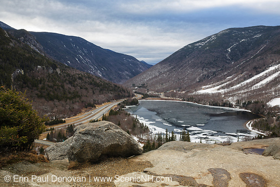 Franconia Notch State Park from Artists Bluff in the New Hampshire White Mountains during the winter month of February.