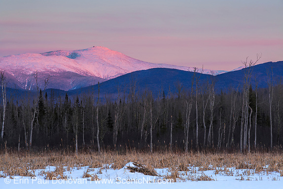 Pondicherry Wildlife Refuge - Scenic view of Mount Washington at sunset from along the Presidential Range Rail Trail / Cohos Trail near Cherry Pond in Jefferson, New Hampshire.