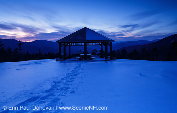The Pemigewasset Wilderness Scenic Overlook during night blue hour along the Kancamagus Scenic Byway in the White Mountains, New Hampshire USA during the winter months (ScenicNH Photography LLC | Erin Paul Donovan)