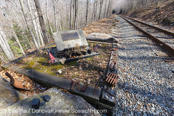 Crash site of the Maine Central Railroad Engine 505 on July 3, 1927 along the Maine Central Railroad in Crawford Notch of the New Hampshire White Mountains. Oscar W. Clemons and Robert B. Morse, who were operating locomotive 505, lost their lives during the explosion.