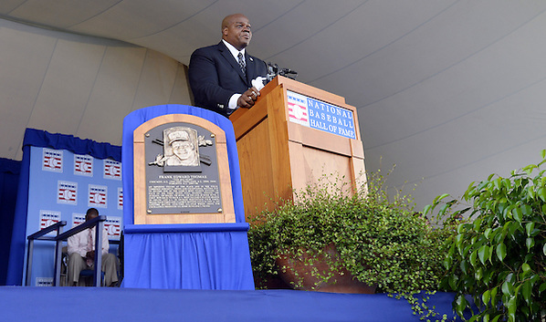COOPERSTOWN, NY - JULY 27:  2014 Baseball Hall of Famer inductee Frank Thomas gives his acceptance speech during the 2014 HOF induction ceremonies held at the Clark Sports Center in Cooperstown, New York on July 27 2014. (Ron Vesely)