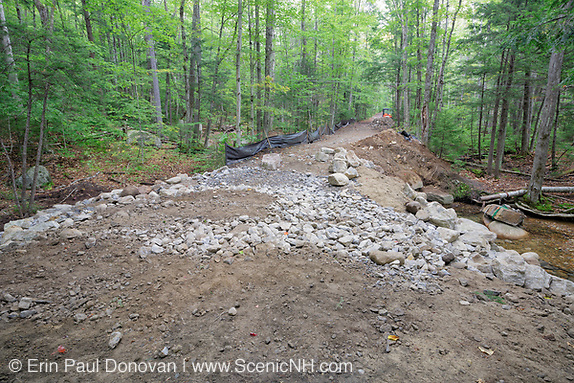 September 2013 - Trail repair work along the Lincoln Woods Trail in Lincoln, New Hampshire USA. This trail was damaged by Tropical Storm Irene in 2011 and is now just being repaired. Tropical Storm Irene caused destruction along the East coast of the United States and the White Mountain National Forest was officially closed during the storm.