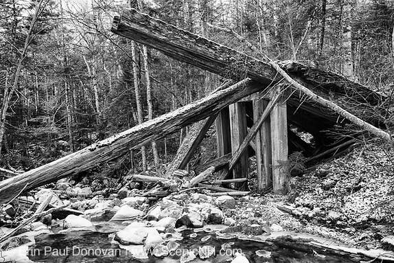 Side view of collapsed timber bridge at the Sokokis Brook crossing along the abandoned Mt Washington Branch of the Boston and Maine (B&M) Railroad in the White Mountains, New Hampshire USA. The Mt Washington Branch was built by the Boston, Concord & Montreal Railroad and completed in 1876. This branch traveled from the Fabyan House to the base of the Cog. The branch was closed in June 1932 (+/-) (Erin Paul Donovan | ScenicNH.com Photography)