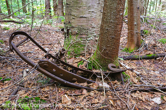 Artifact at the Old Johnson Camp in the Liberty Brook drainage of Lincoln, New Hampshire. Even though this camp was located in the Pemigewasset Wilderness (on the East Branch & Lincoln Railroad side of Mount Liberty) it was owned and operated by the Gordon Pond Railroad. The Gordon Pond Railroad owned a stand of timber on the East Branch & Lincoln Railroad side of Mount Liberty and made a deal with them to haul their timber out of the Pemi Wilderness using the East Branch Lincoln Railroad.