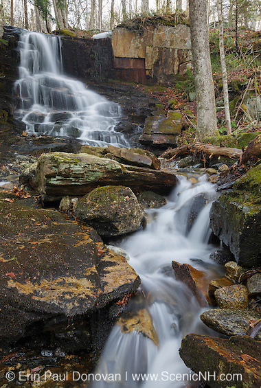 Rollo Fall along the Moose River in Randolph, New Hampshire. Rollo Falls is one of the many lost waterfalls in the White Mountains worth visiting during the spring months when the river is running high.