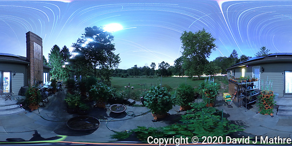 Summertime Night Sky over New Jersey (360 Equirectangular Panorama). Composite of 358 images taken with a Ricoh Theta Z1 camera (ISO 400, dual 2.6 mm fisheye lens, f/2.1, 60 sec). (DAVID J MATHRE)