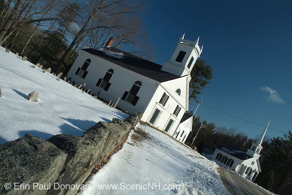 Union Meeting House from 1840-1865 /Universalist Church in 1865. Located in the historical district of Kensington, New Hampshire, USA, which is part of New England.
