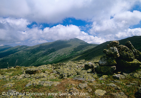 Appalachian Trail - Hiking on Crawford Path in the Presidential Range, which is  located in the White Mountain National Forest of New Hampshire USA. Mount Washington is in cloud cover.