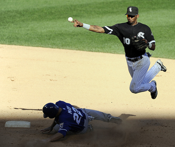 CHICAGO - SEPTEMBER 12:  Alexei Ramirez #10 of the Chicago White Sox throws the ball after making a force play on Lucas May #22 of the Kansas City Royals on September 12, 2010 at U.S. Cellular Field in Chicago, Illinois.  The White Sox defeated the Royals 12-6.  (Photo by Ron Vesely) (Ron Vesely)