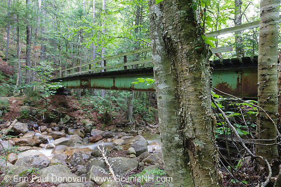 2010 - Footbridge which crossed Black Brook in the Pemigewasset Wilderness in Lincoln, New Hampshire USA. This steel footbridge was dismantled in 2010 and no longer exists. It was located next to Trestle 16 of the East Branch & Lincoln Railroad.