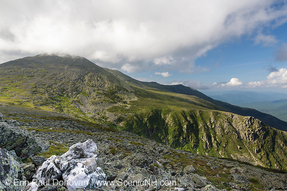 Mount Washington from Davis Path in Sargent's Purchase in the New Hampshire White Mountains on a cloudy summer day;
