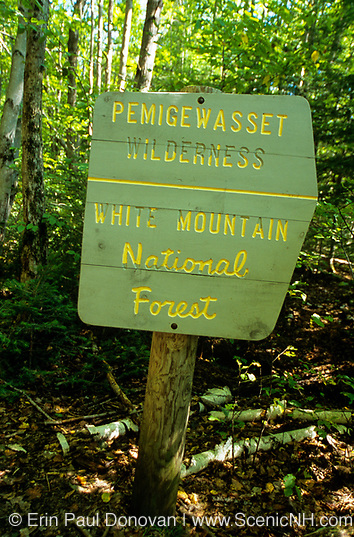 Pemigewasset Wilderness sign along the Wilderness Trail in the White Mountains, New Hampshire. This sign no longer exists.