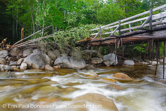 High waters from Tropical Storm Irene in 2011 damaged the bottom of a bridge of the Thoreau Falls bridge in Lincoln, New Hampshire.