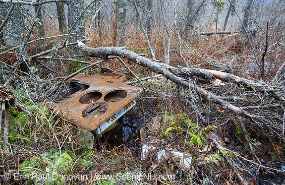 Remnants of a cooking stove made by Magee Furnace Company, Boston, Mass at the abandoned cabin settlement surrounding Elbow Pond in Woodstock, New Hampshire.