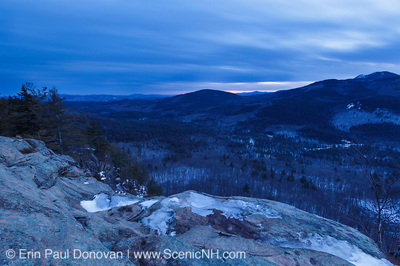 Cloudy sunset from an outlook along the Boulder Loop Trail in Albany, New Hampshire USA, which is part of the White Mountains. Mount Chocorua is in the distance on the right.
