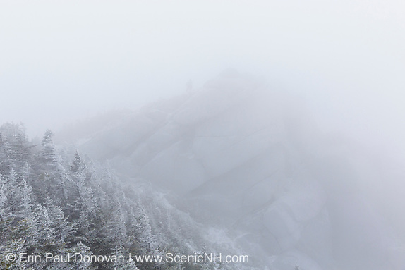 Mount Liberty in whiteout conditions in the White Mountains, New Hampshire.