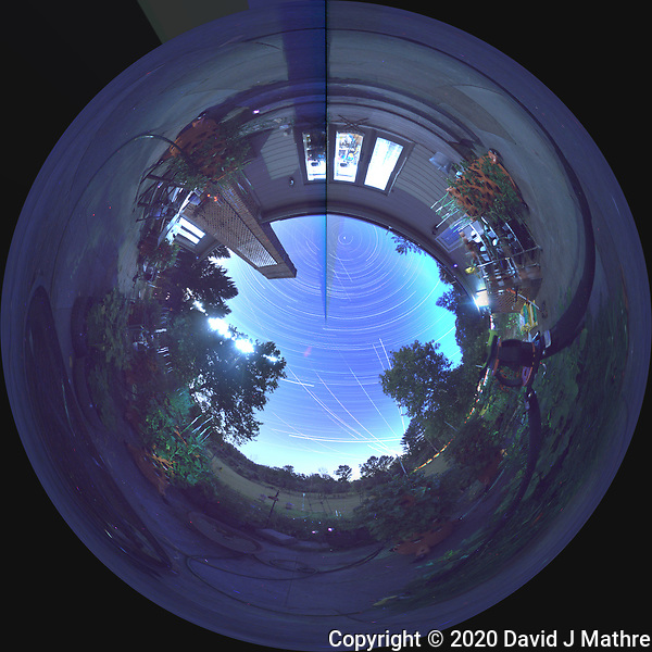 Summertime Night Sky over New Jersey (360 Tunnel View Panorama). Composite of images (20:12-03:20) taken with a Ricoh Theta Z1 camera (ISO 400, dual 2.6 mm fisheye lens, f/2.1, 60 sec). With image alignment in Photoshop CC (scrips,statistics, maximum, align images) (DAVID J MATHRE)