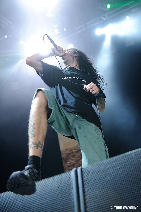 Lamb of God performing at Mayhem Fest 2010 on July 20 at Verizon Wireless Amphitheater in St. Louis (TODD OWYOUNG)