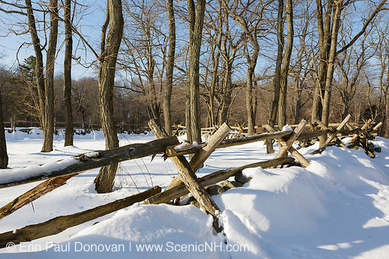 Minute Man National Historical Park - Wooden fence along the Battle Road Trail near Hartwell Tavern during the winter months. Located in Lincoln, Massachusetts.