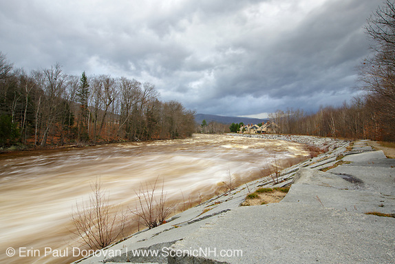 The East Branch of the Pemigewasset River in Lincoln, New Hampshire USA after hours of heavy rains and strong winds from Hurricane Sandy. This hurricane caused massive destruction along the east coast, but the White Mountains of New Hampshire received almost no damage.