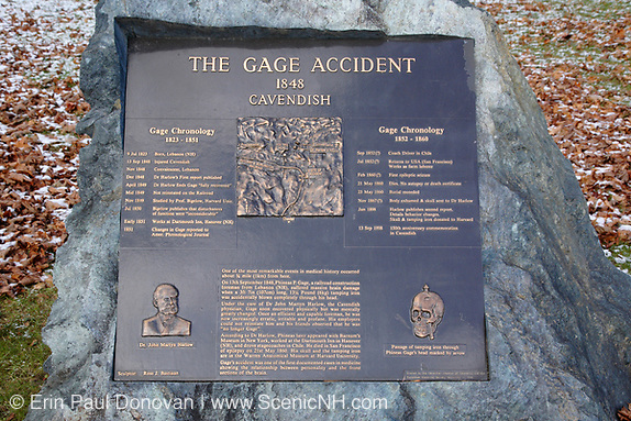 "The Gage Accident plaque in Cavendish, Vermont USA  which is part of scenic New England. This plaque is for Phineas P Gage known as the ""Man With a Metal Rod in His Head""...On September 13, 1848 while working for the railroad Phineas P Gage suffered massive brain damage when a 3 foot long tamping iron was blown through is head. The most interesting part of the story is he recovered from the injury, but was mentally never the same."