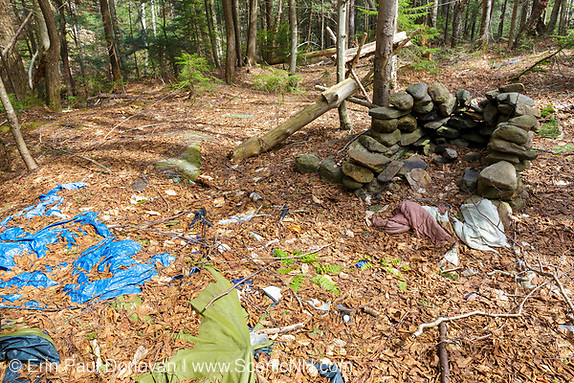 Impact photo of abandoned campsite along a tributary of the Wild Ammonoosuc River, on the side of Mt. Blue, in Kinsman Notch of the White Mountains, New Hampshire.