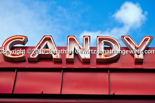 The Candy Corner arcade sign in Glen Echo park. (Copyright 2011 Jonathan Gewirtz jonathan@gewirtz.net)