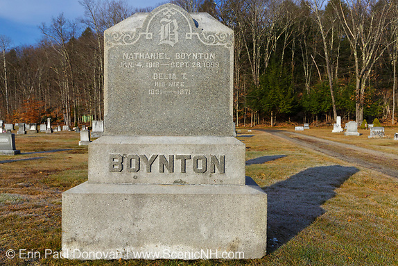 The headstone of Nathaniel Boynton (1818-1899) at Woodstock Cemetery in Woodstock, New Hampshire