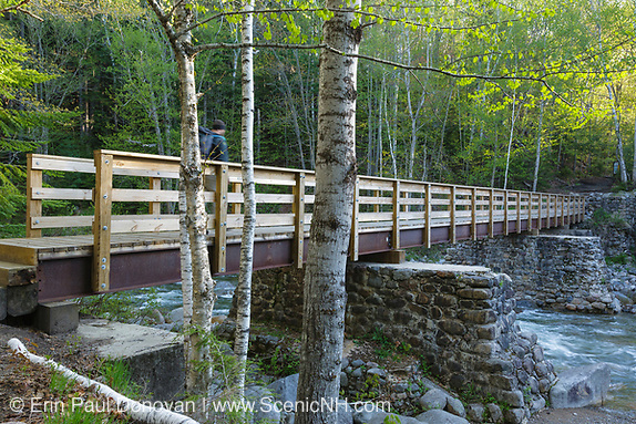 Hiker on footbridge, which cross Franconia Brook along the Lincoln Woods Trail in Lincoln, New Hampshire. Old abutments from Trestle No. 7 of the old the East Branch & Lincoln Logging Railroad (1893-1948) are used to support this bridge.