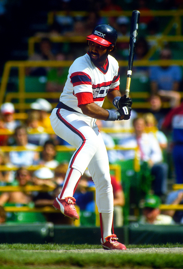 CHICAGO - 1985:  Harold Baines #3 of the Chicago White Sox bats during an MLB game at Comiskey Park in Chicago, Illinois.  Baines played for the White Sox from 1980-1989, and again from 1996-97 and 2000-2001.  (Photo by Ron Vesely) (Ron Vesely)