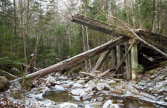 Side view of collapsed timber bridge at the Sokokis Brook crossing along the abandoned Mt Washington Branch of the Boston and Maine (B&M) Railroad in the White Mountains, New Hampshire USA. The Mt Washington Branch was built by the Boston, Concord & Montreal Railroad and completed in 1876. This branch traveled from the Fabyan House to the base of the Cog. The branch was closed in June 1932