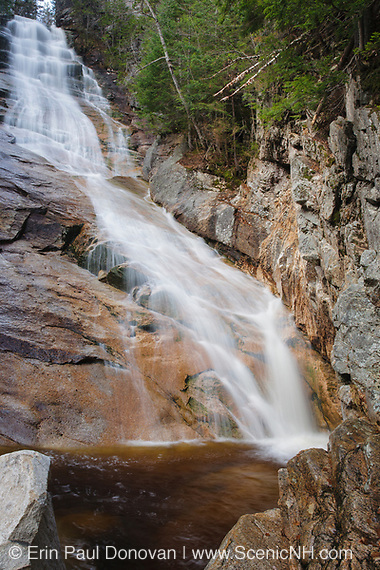 Ripley Falls on Avalanche Brook in Hart's Location, New Hampshire. The Arethusa-Ripley Falls Trail travels pass this scenic waterfall. Discovered in the 1850s (maybe earlier), this waterfall is named for H.W. Ripley.
