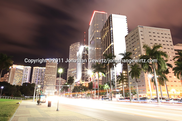 Condo, office and hotel buildings and traffic on Miami's Biscayne Boulevard at night. WATERMARKS WILL NOT APPEAR ON PRINTS OR LICENSED IMAGES. (Jonathan Gewirtz, jonathan@gewirtz.net)