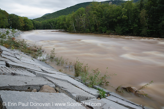 Day after a flash flood of the East Branch of the Pemigewasset River in Lincoln, New Hampshire USA during Tropical Storm Irene in 2011. This tropical storm / hurricane caused destruction along the East coast of the United States and the White Mountain National Forest of New Hampshire was officially closed during the storm.