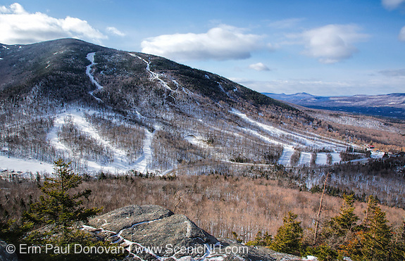 Mittensill Mountain from the summit of Bald Mountain during the winter months in White Mountains, New Hampshire.
