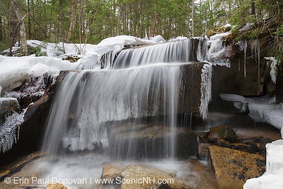 A small cascade along the Kancamagus Highway in the White Mountain National Forest of  New Hampshire USA during the spring months.
