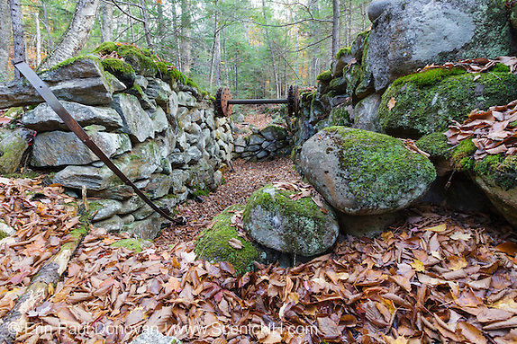 Remnants of an old mill along Talford Brook at Thornton Gore in Thornton, New Hampshire during the autumn months. This was an old hill farm community that was abandoned during the 19th century.