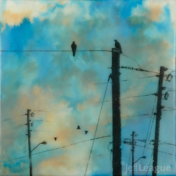 Encaustic painting with photography of crows on power lines in vibrant turquoise sky (Jeff League)