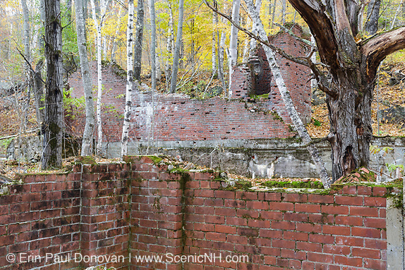 Remnants of the historic powerhouse at the abandoned town of Livermore during the autumn months. This was a logging town in the late 19th and early 20th centuries along the Sawyer River Logging Railroad in Livermore, New Hampshire. The town and railroad was owned by the Saunders family.