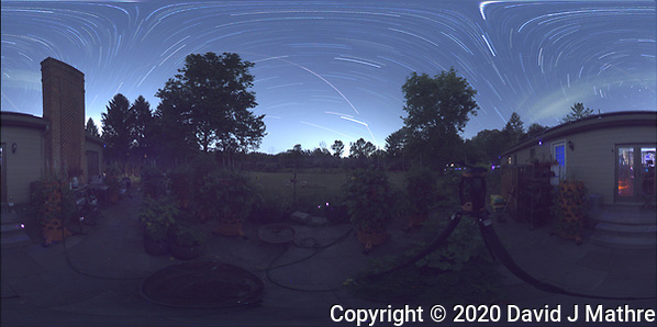 Summertime Night Sky over New Jersey (360 Equirectangular Panorama). Composite of images (22:00-22:59) taken with a Ricoh Theta Z1 camera (ISO 400, dual 2.6 mm fisheye lens, f/2.1, 60 sec). With image alignment in Photoshop CC (scrips,statistics, maximum, align images) (DAVID J MATHRE)