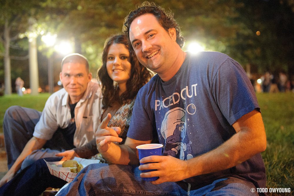 Widespread Panic fans sitting in the Eternal Flame Park across from the Peabody Opera House before the show. (Todd Owyoung)