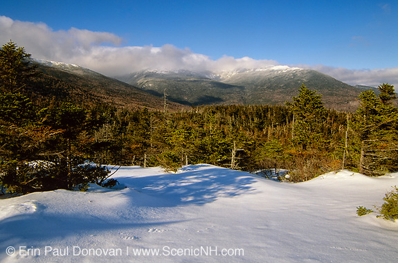 Scenic view of the Presidential Range from Low's Bald Spot in the White Mountains of New Hampshire USA during the winter months. This view point is located just off the Appalachian Trail (Madison Gulf Trail).