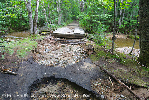 Trail washout along the Lincoln Woods Trail in Lincoln, New Hampshire USA from Tropical Storm Irene in 2011. This tropical storm / hurricane caused destruction along the East coast of the United States and the White Mountain National Forest of New Hampshire was officially closed during the storm.