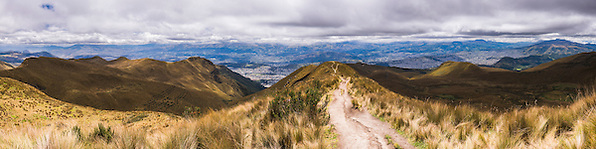 Whole of Quito panorama. Extreme north on the left and extreme south on the right, from Pichincha Volcano, Ecuador