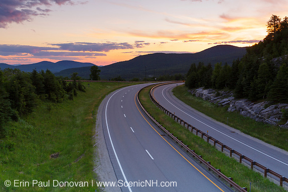 Sunrise from along Route 93 in the northern section of Franconia Notch State Park in the New Hampshire White Mountains during the month of July.