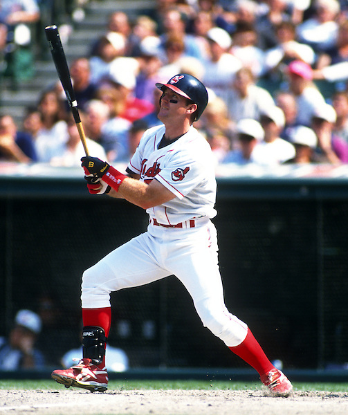 CLEVELAND - 1995:  Jim Thome #25 of the Cleveland Indians bats during an MLB game at Jacobs Field in Cleveland, Ohio.  Thome played for the Indians from 1991-2002.  (Photo by Ron Vesely) (Ron Vesely)